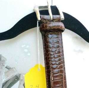 Ralph Lauren Polo Alligator Belt Brown Sz.34